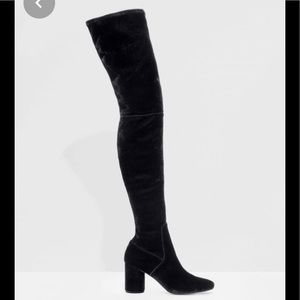 & Other stories black suede leather tall boots